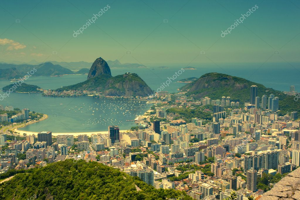 Views Rio de Janeiro and Sugarloaf Mountain from Corcovado — Stock Photo #5787635