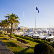 Boardwalk and marina berths at Hope Island Marina - Stock Photo