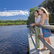 Two girls looking out from  viewing platform by the creek — Stock Photo