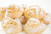 Sweet Savoury buns with white icing — Stock Photo