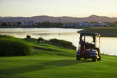 Golf Course and buggies — Stock Photo