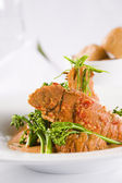 Lobster with broccoli — Stock Photo