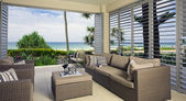 Beautiful waterfront suite with ocean views — Stock Photo