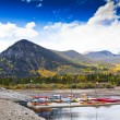 Harbor with Kayaks in small Town in Colorado, USA — Stock Photo