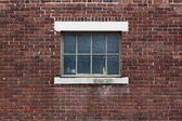 Industrial Color Brick Wall with Blue Window — Stock Photo