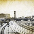 Vintage Design - Railroad in big city — Stock Photo #6055979
