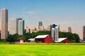 Amerikanska land med stora staden i bakgrunden — Stockfoto