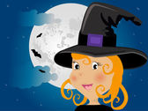 Cute girl in halloween costume whit moon and bats — Stock Photo