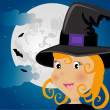 Cute girl in halloween costume whit moon and bats — Stock Vector #5796707