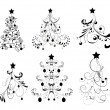 Stock Vector: Set Christmas Trees