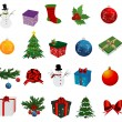 Stock Vector: Christmas Set of icons on white background