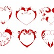 Vector illustration of collection of hearts — Stock Vector