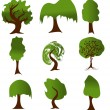 Set of green tree silhouettes for ecology design. Vector version — Stock Vector