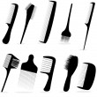 Collection beauty hair salon or barber comb vector illustration - Imagens vectoriais em stock