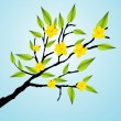 Green Tree Branch Icon with beautifull yellow flowers — Stock Vector