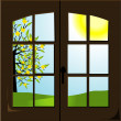 Open window with a spring landscape — Stock Vector