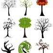 Stock Vector: Set of abstract seasonal trees