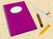 School supplies background. vector illustration. — Stock Vector