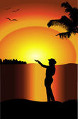 Silhouette of a woman with her arms in the air at sunset — Stock Vector