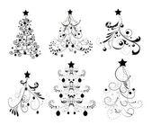 Instellen van de bomen van kerstmis — Stockvector