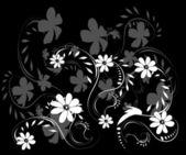 černé a bílé pozadí s bílými květy — Stock vektor