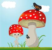 Mushroom vector whit butterfy — Stock Vector