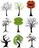 Set of abstract seasonal trees — Vector de stock