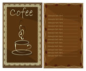 Coffee or tea shop menu card — Stock Vector
