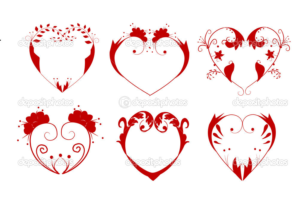 Vector illustration of collection of hearts — Stock Vector #5796879