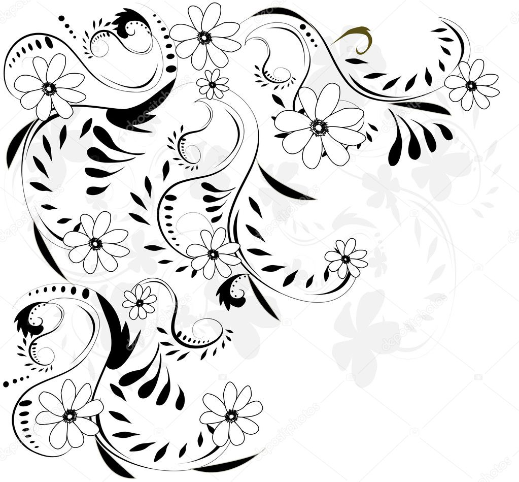 Abstract Flower Line Drawing : Abstract flower design — stock vector joinanita