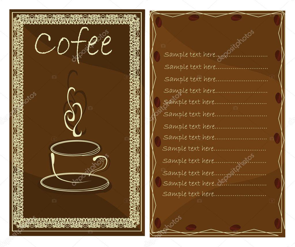 コーヒーまたは紅茶ショップ メニュー カード — ストックベクター © joinanita #5797190