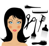 Hair Style Beauty Elements — Stock Vector