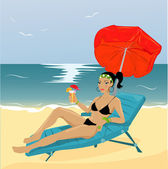 Young woman on a beach — Stock Vector