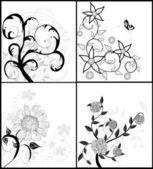 Set di sfondi floreali — Vettoriale Stock