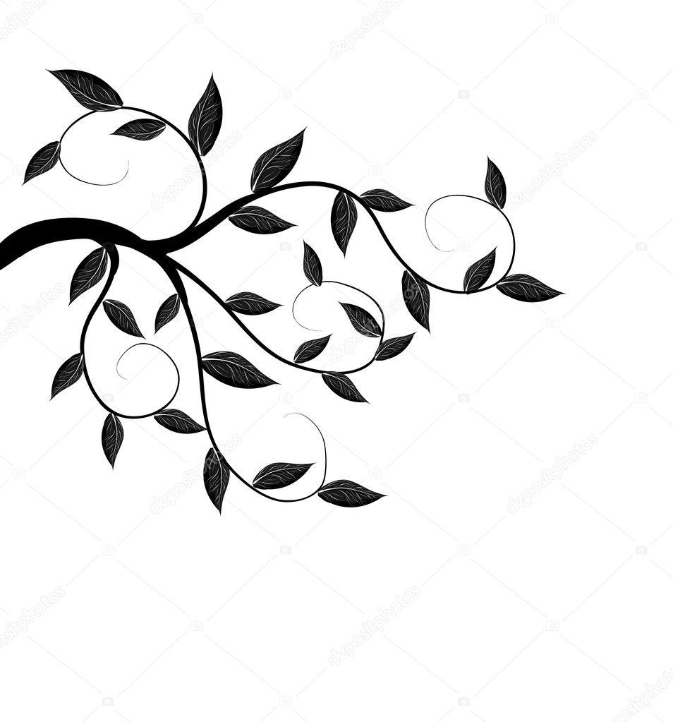 向量的树分支剪影 — 矢量图片作者 joinanita