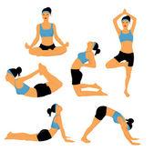 Yoga poses — Stock Vector