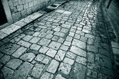 Mramor dlážděné uličky trogir — Stock fotografie