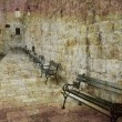 Empty benches Dubrovnik — Stockfoto