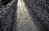 городская стена в дождь — Стоковое фото