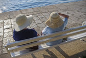 Two ladies with nice hats — Stock Photo