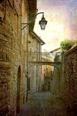 Alley with lamp Gubbio — Stock Photo