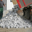 Unloading cobbles — Stock Photo