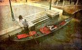 Gondola with tourists — Stock Photo