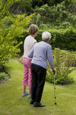 Seniors in the garden — Stock Photo