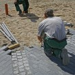 Pavers on job — Stock Photo