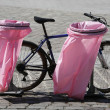 Pink litter bags — Stock Photo