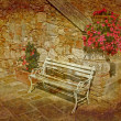 Old bench in nice patio — Stock Photo #6089813