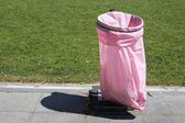 Pink litter bag — Stock Photo