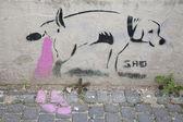 Humour on Slovakian wall — Stockfoto