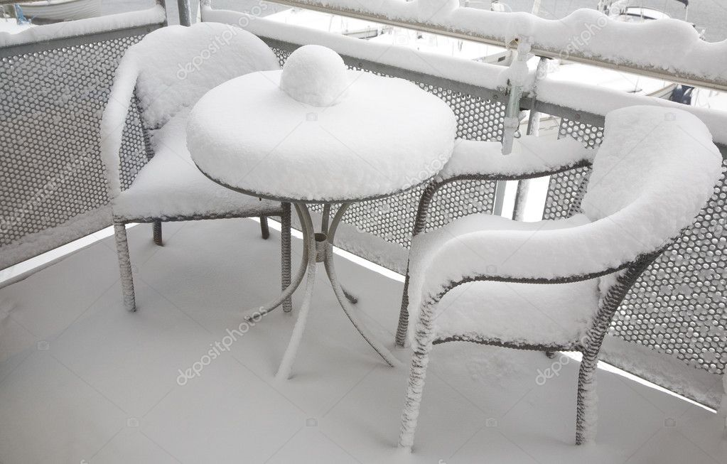 Morning at the balcony after a night with heavy snowing.  Stock Photo #6574311